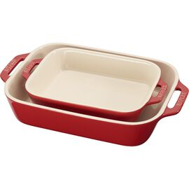 Staub Ceramic, 2-pc, Rectangular Baking Dish Set, cherry