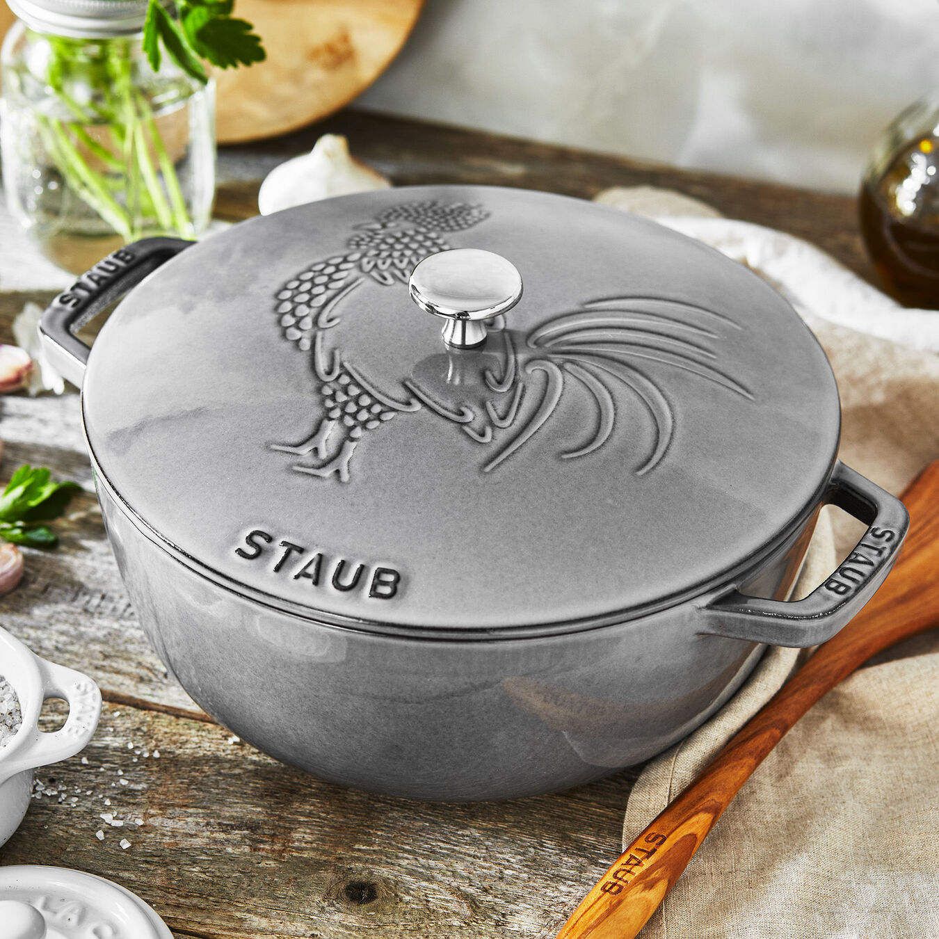 3.75 qt, Essential French Oven Rooster Lid, graphite grey,,large 3