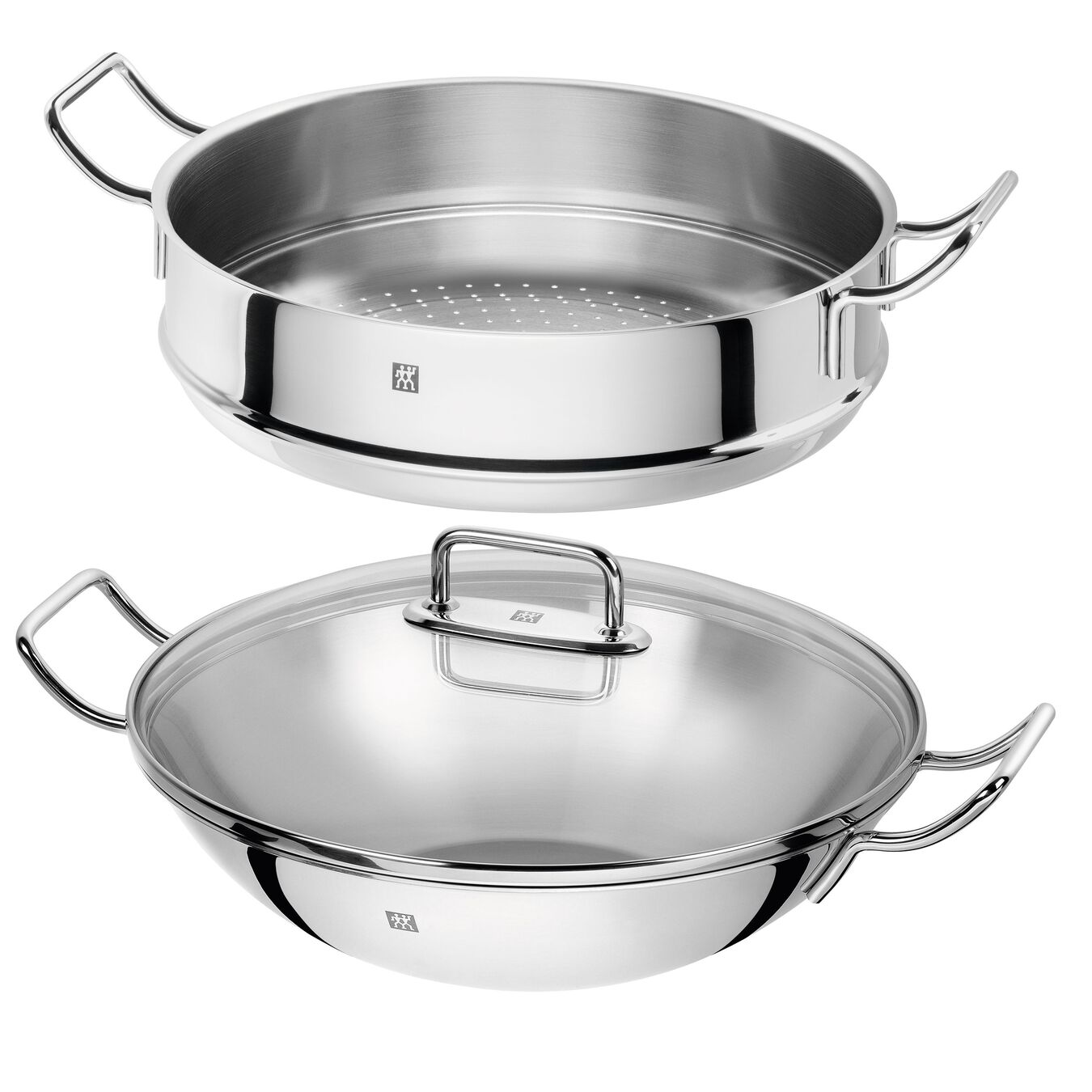 3 Piece 18/10 Stainless Steel wok with steamer and lid,,large 1