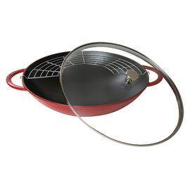 Staub Cast iron, 37-cm-/-14.5-inch Enamel Wok with glass lid, Cherry
