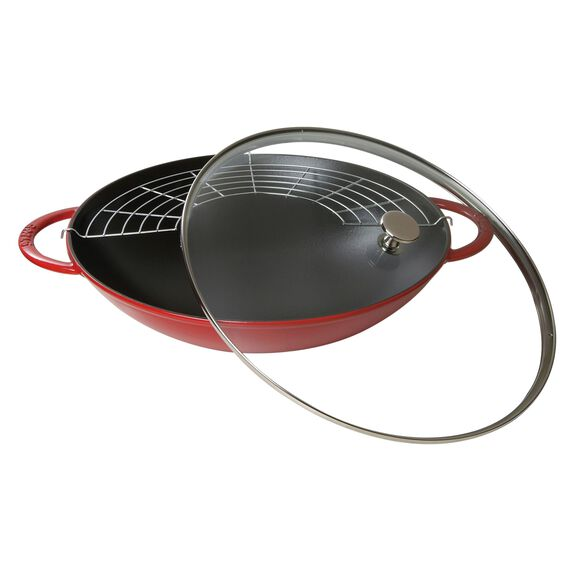 37-cm-/-14.5-inch Enamel Wok with glass lid, Cherry,,large