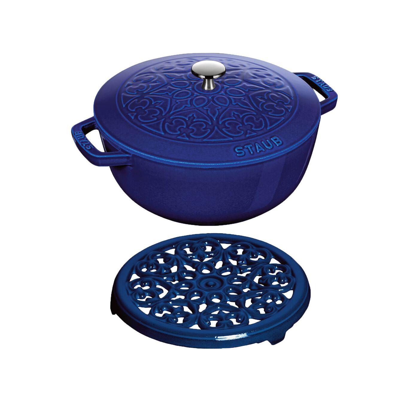 Ensemble de casseroles, 2-pcs   round   Cast iron   Dark-Blue,,large 1