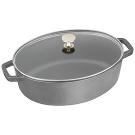 Staub Cast Iron, 4.25-qt oval Cocotte with glass lid, Graphite Grey