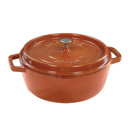Staub Cast iron, 6-qt Shallow Wide Round Cocotte - Burnt Orange