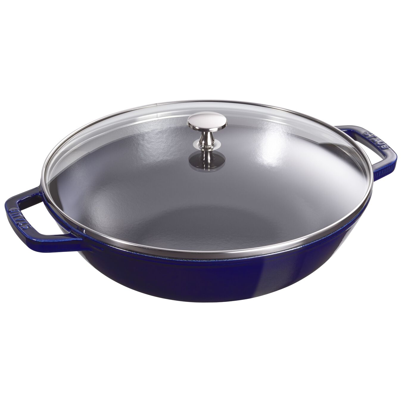 30 cm / 12 inch Cast iron Wok with glass lid, dark-blue,,large 1
