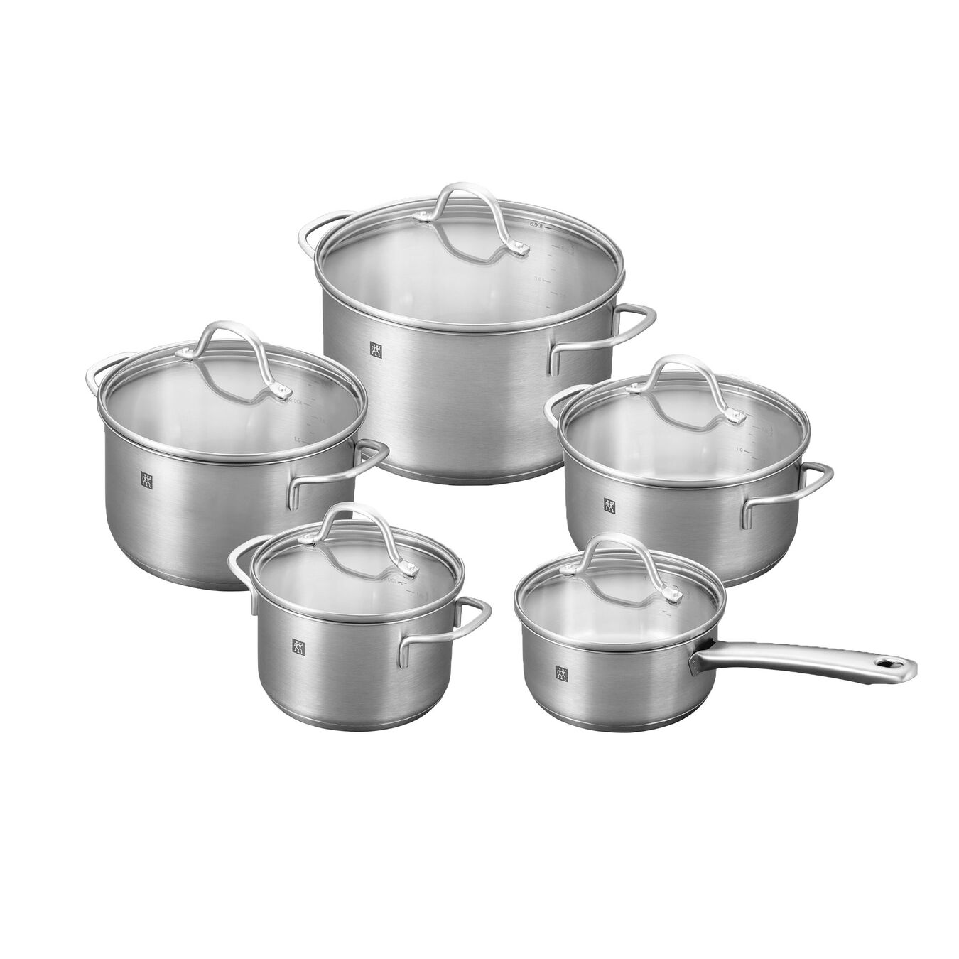 Pot set, 10 Piece | round | 18/10 Stainless Steel,,large 1