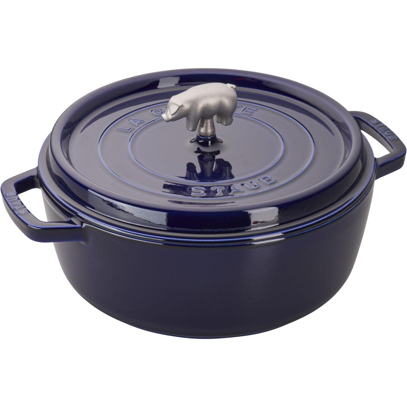 6 qt, Cochon Shallow Wide Round Cocotte, dark blue,,large 1