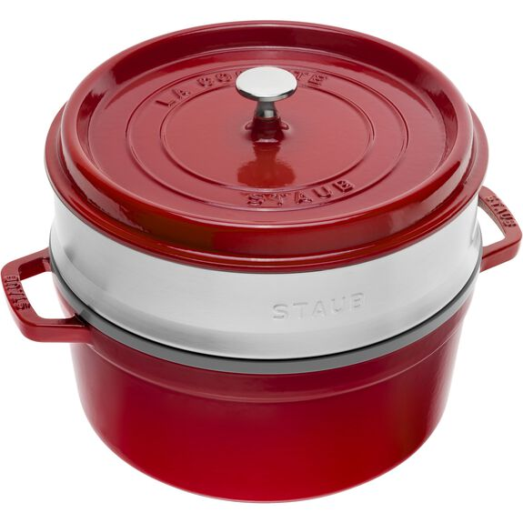 5.5-qt-/-26-cm round Cocotte with steamer, Cherry,,large