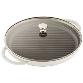 Staub Cast Iron, round, Grill pan with glass lid, white