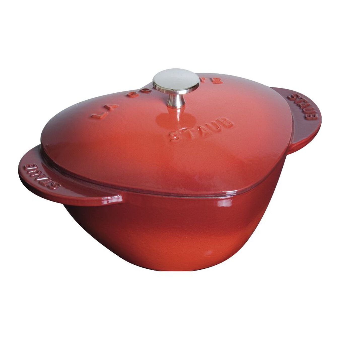 Cocotte 20 cm, Herz, Kirsch-Rot, Gusseisen,,large 1