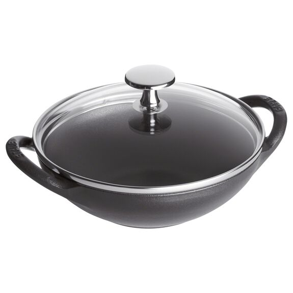 6.5-inch Enamel Wok, Black,,large