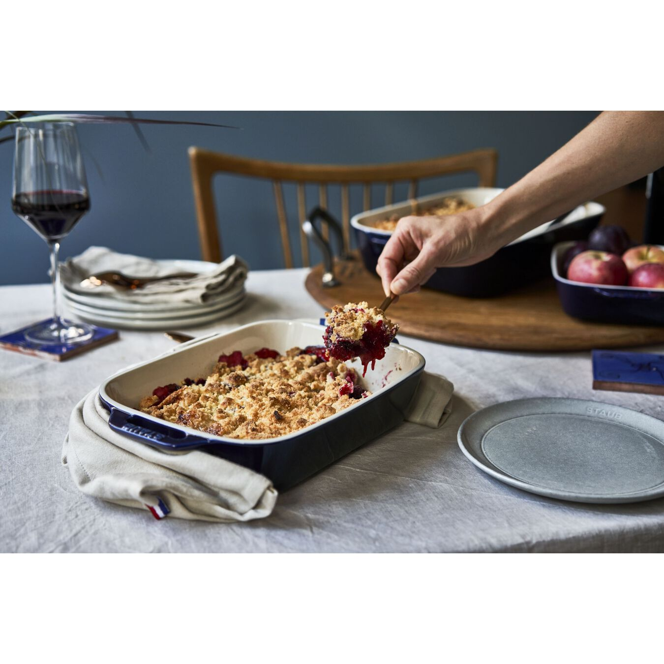 7.87 x 10.75 inch, rectangular, Oven dish, dark blue,,large 2