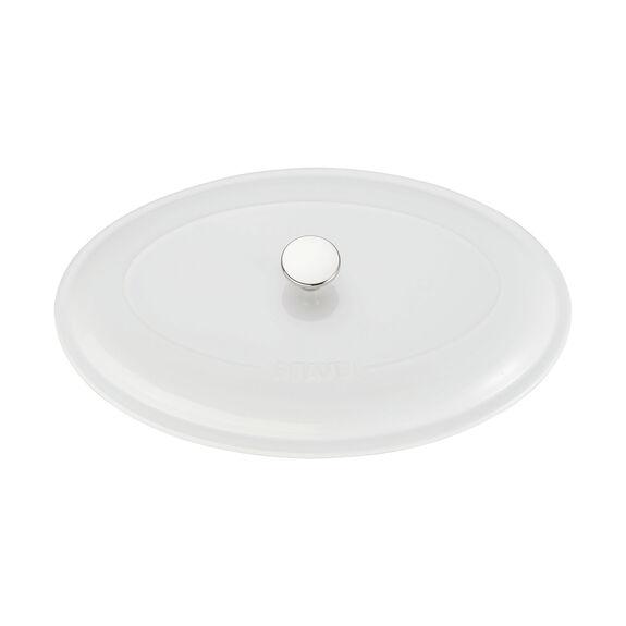 Ceramic Oval Covered Baking Dish, White,,large 4