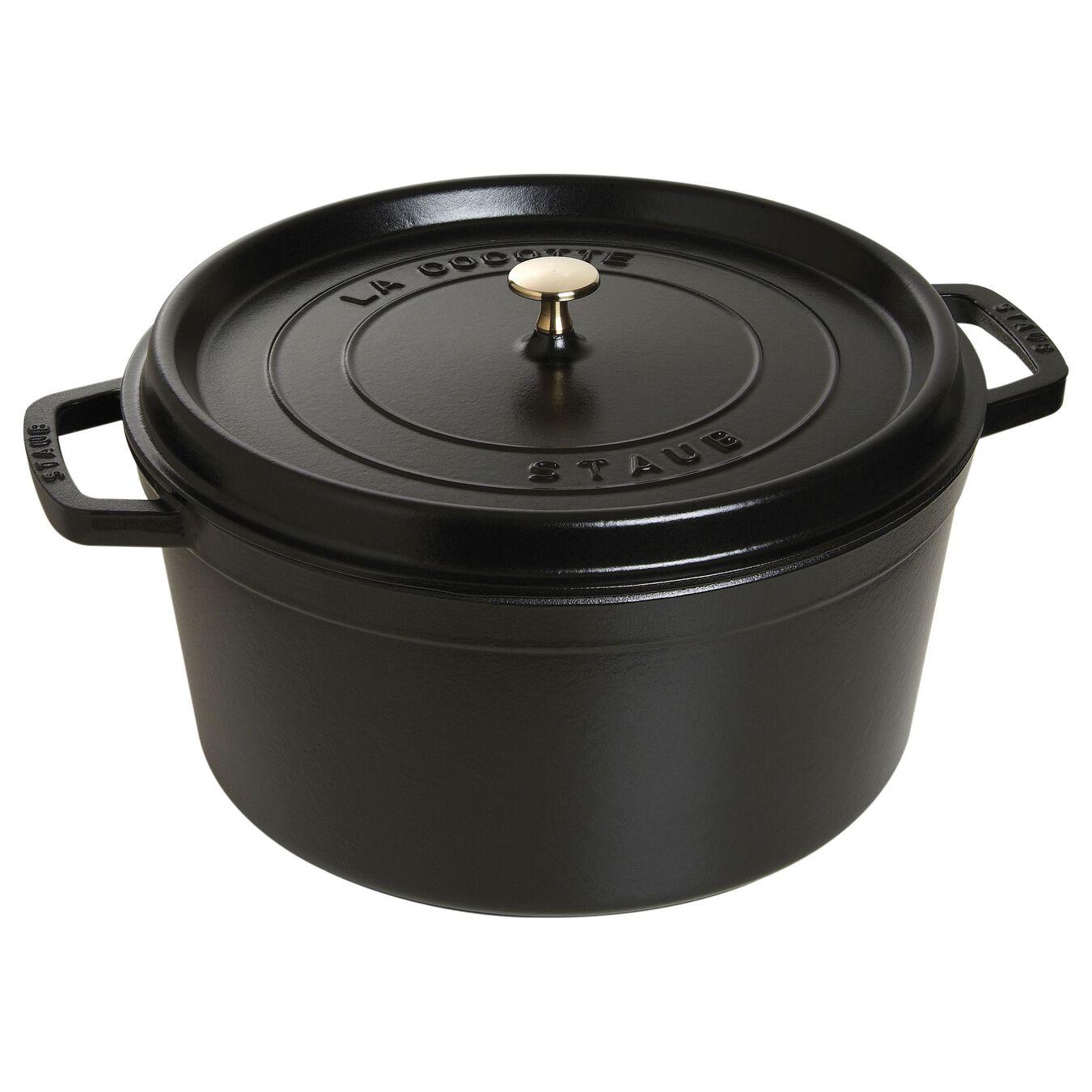 13.25 qt, round, Cocotte, black matte,,large 1