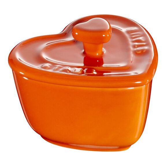 Cocotte Set 2-tlg, Herz, Orange, Keramik,,large