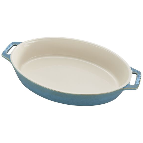 """11"""" Oval Baking Dish, Rustic Turquoise, , large"""