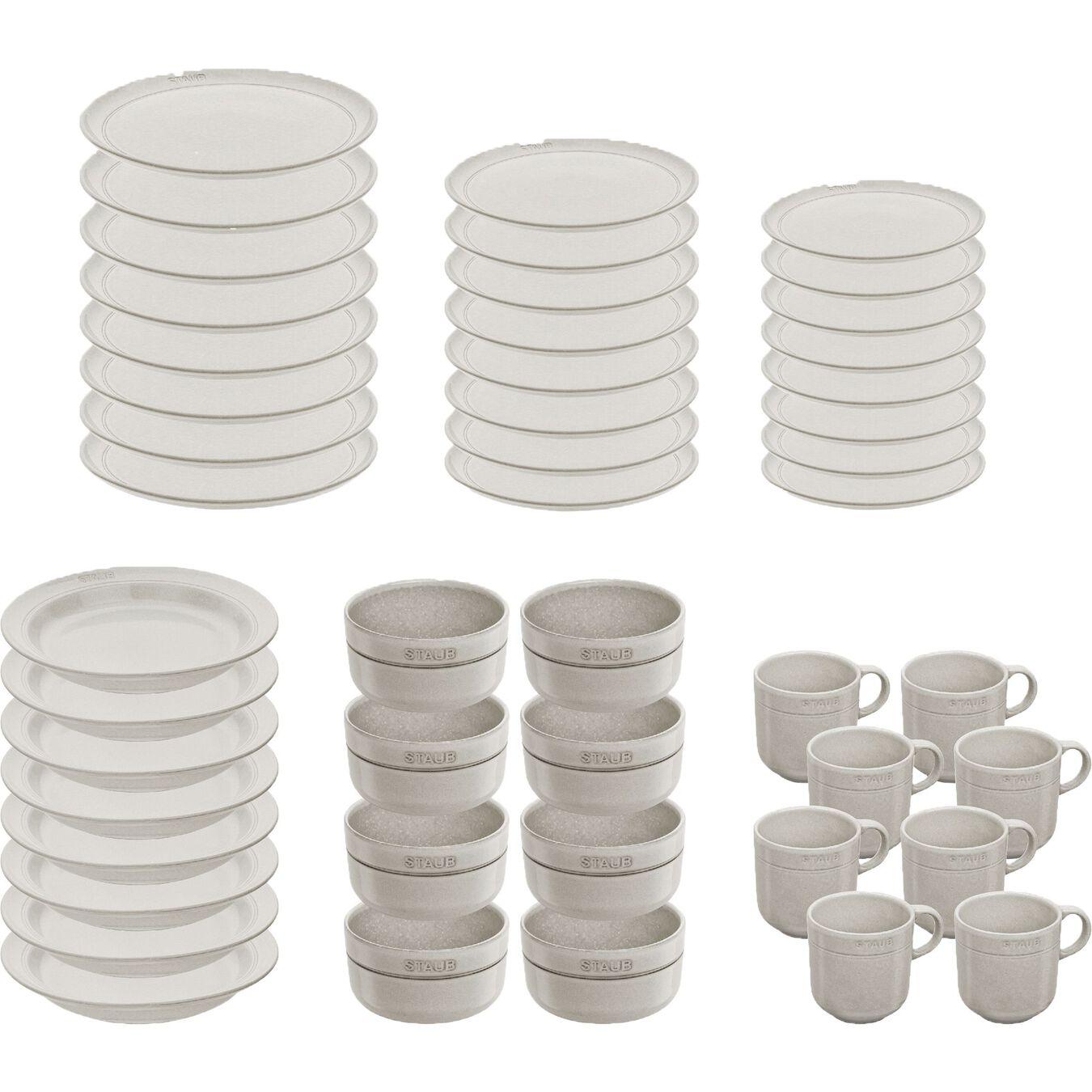 Serving set, 48 Piece   White Truffle   Ceramic   Ceramic,,large 2