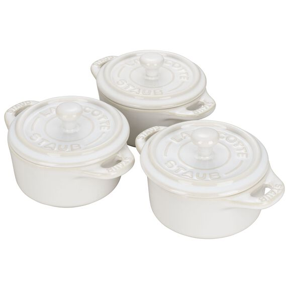 3-pc Mini Round Cocotte Set - Rustic Ivory,,large