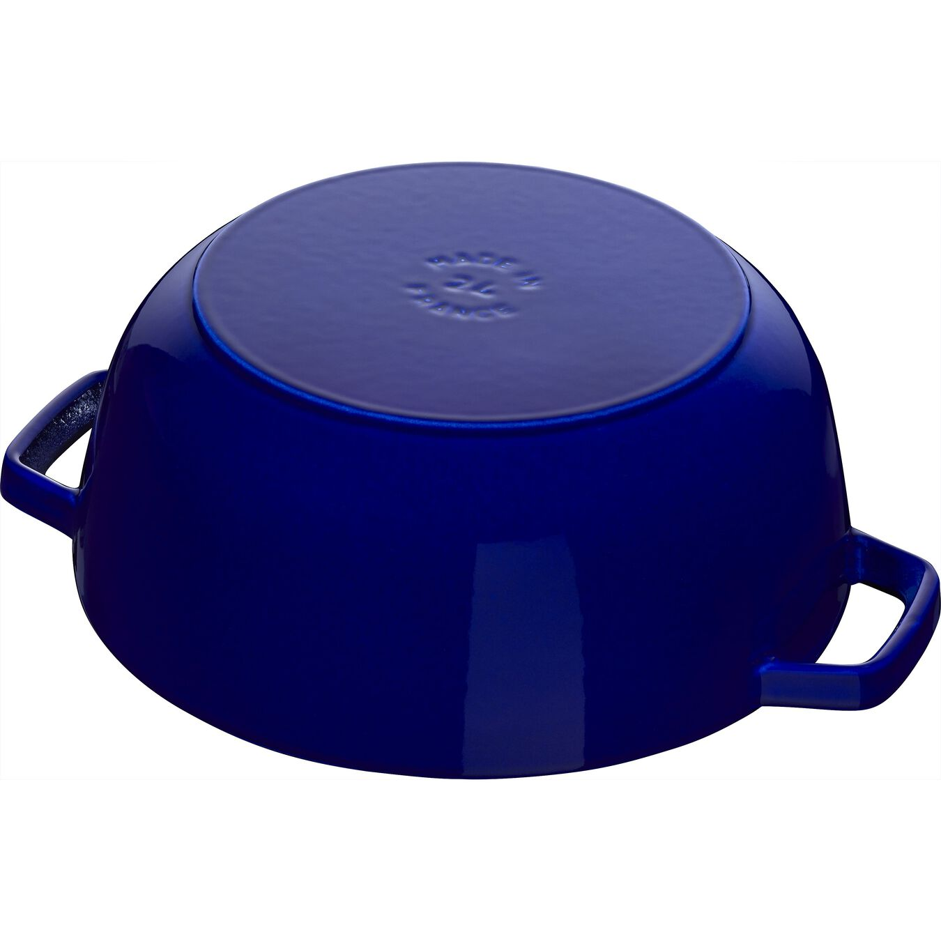 5 l Cast iron round French oven, lily decal, dark-blue,,large 4