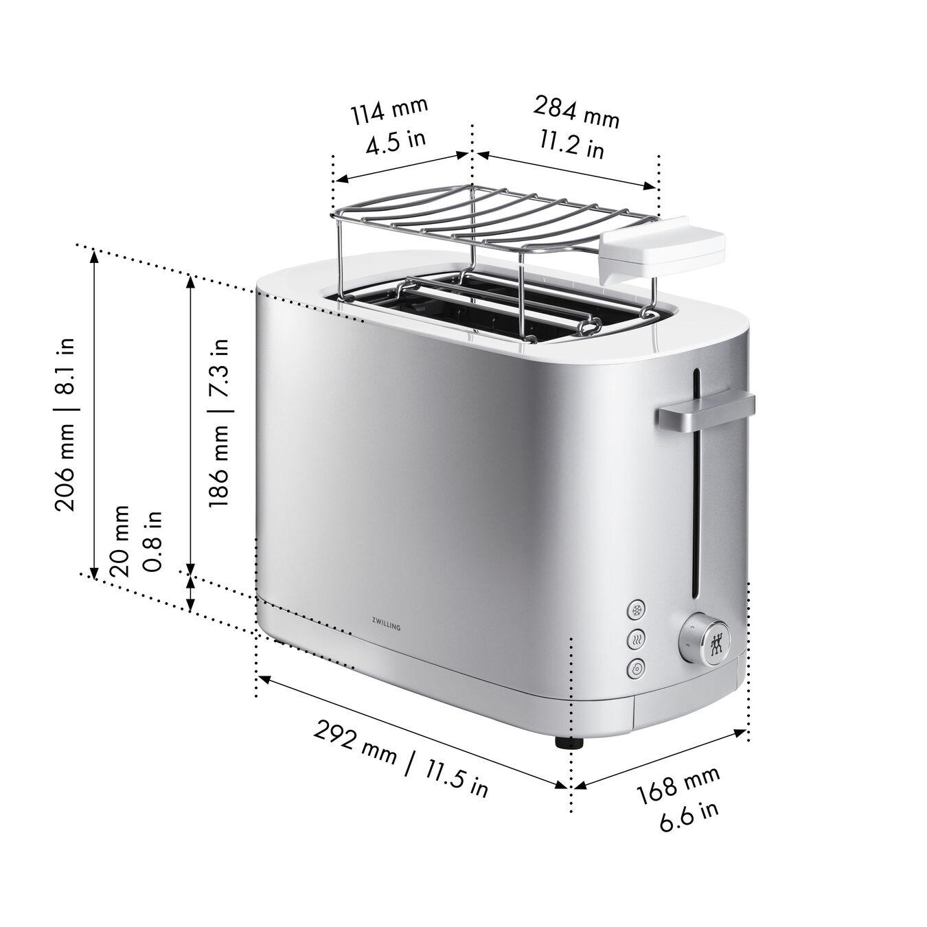 Toaster mit Brötchenaufsatz, 2 Schlitze kurz, Silber,,large 8