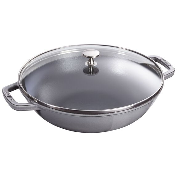 12-inch Enamel Wok with glass lid, Graphite Grey,,large
