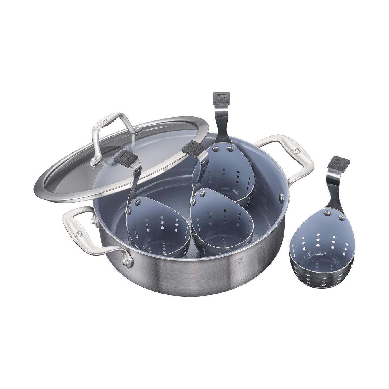 3-ply 6-pc Stainless Steel Ceramic Nonstick Breakfast Pan & Egg Poacher Set,,large 1