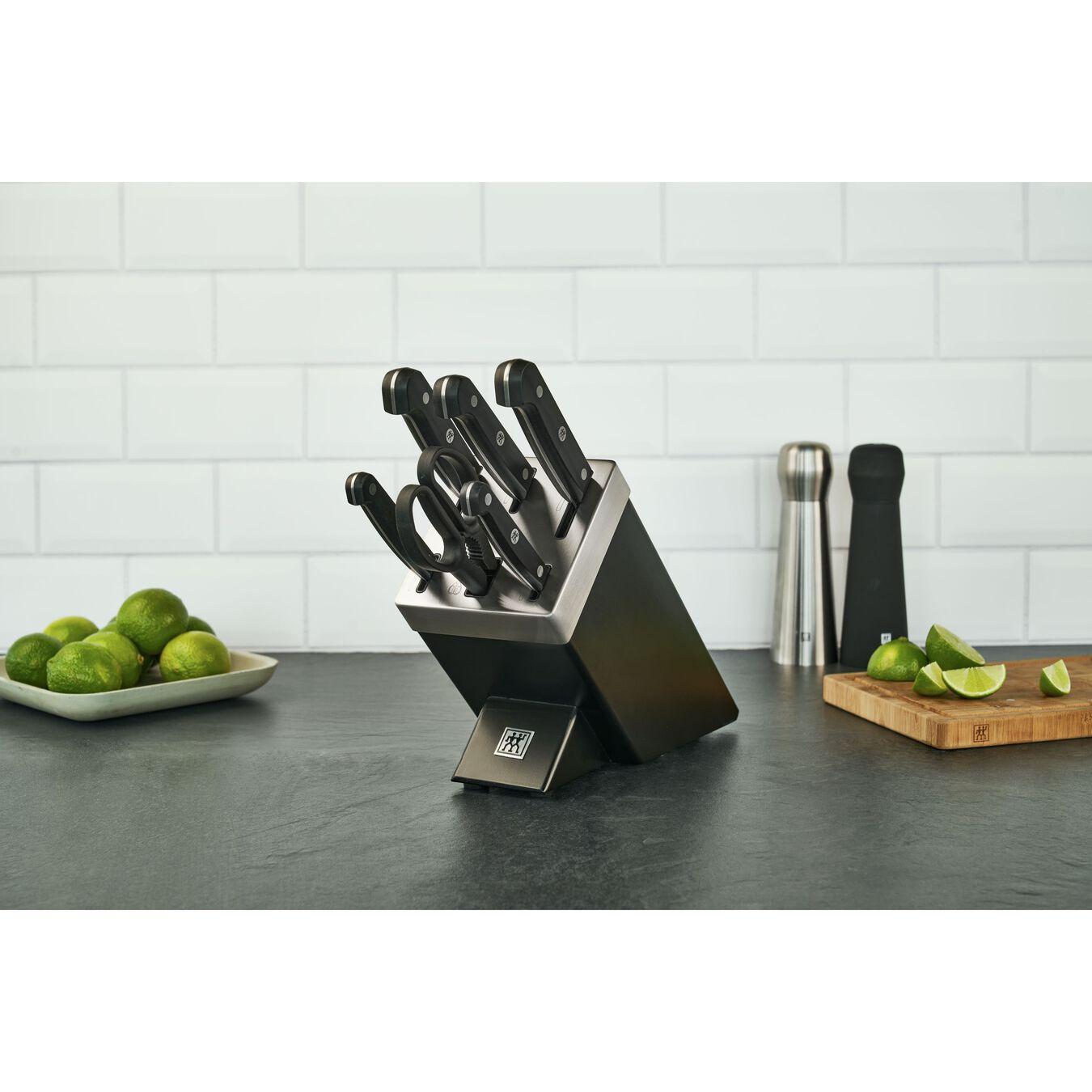 Set di coltelli con ceppo con sistema autoaffilante - 7-pz., nero,,large 3