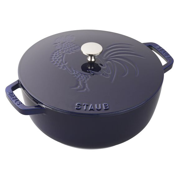 3.75-qt round French oven rooster, Dark Blue - Visual Imperfections,,large