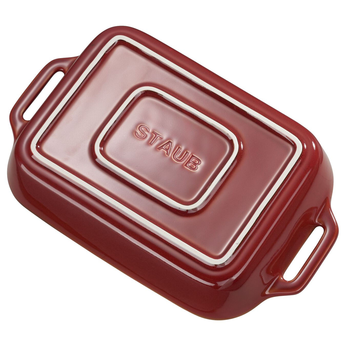2-pcs square Ensemble plats de cuisson pour le four, Red,,large 3