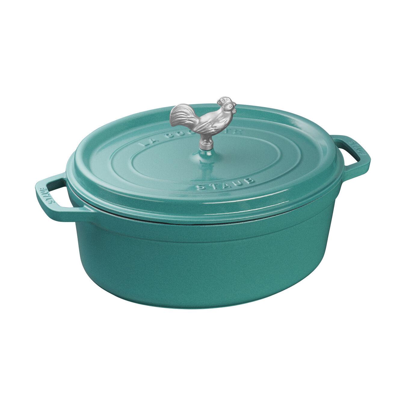 5.5 qt, oval, Coq au Vin Cocotte, turquoise,,large 1