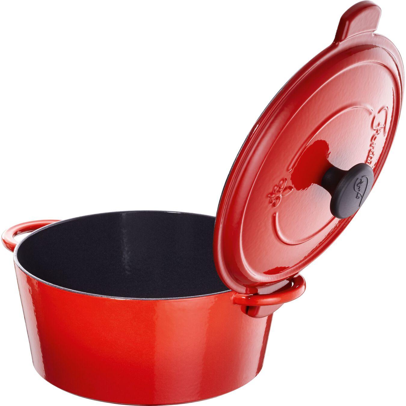 Caçarola 24 cm, redondo, Vermelho chama, Ferro fundido,,large 1