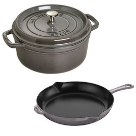Staub Cast Iron - Sets, 3-pc, Cocotte and Fry Pan Set, graphite grey