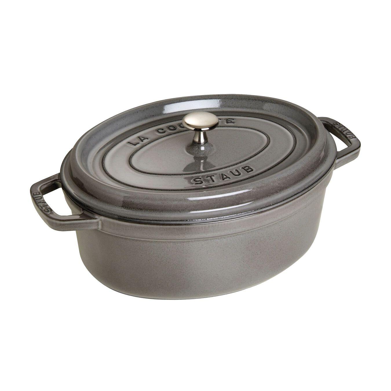 8 l Cast iron oval Faitout, Graphite-Grey,,large 1