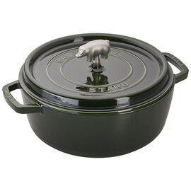 Staub Cast Iron, 6-qt Cochon Shallow Wide Round Cocotte - Basil