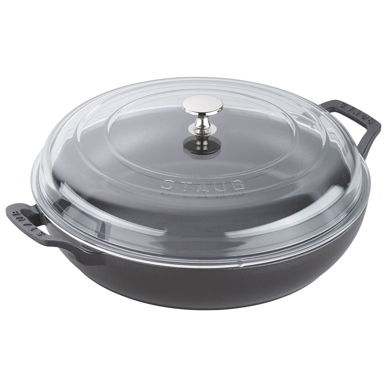 12-inch, Braiser with Glass Lid, black matte,,large 1
