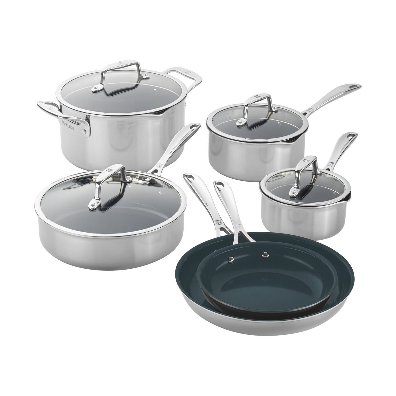 10pc Stainless Steel Ceramic Nonstick Cookware Set,,large 1