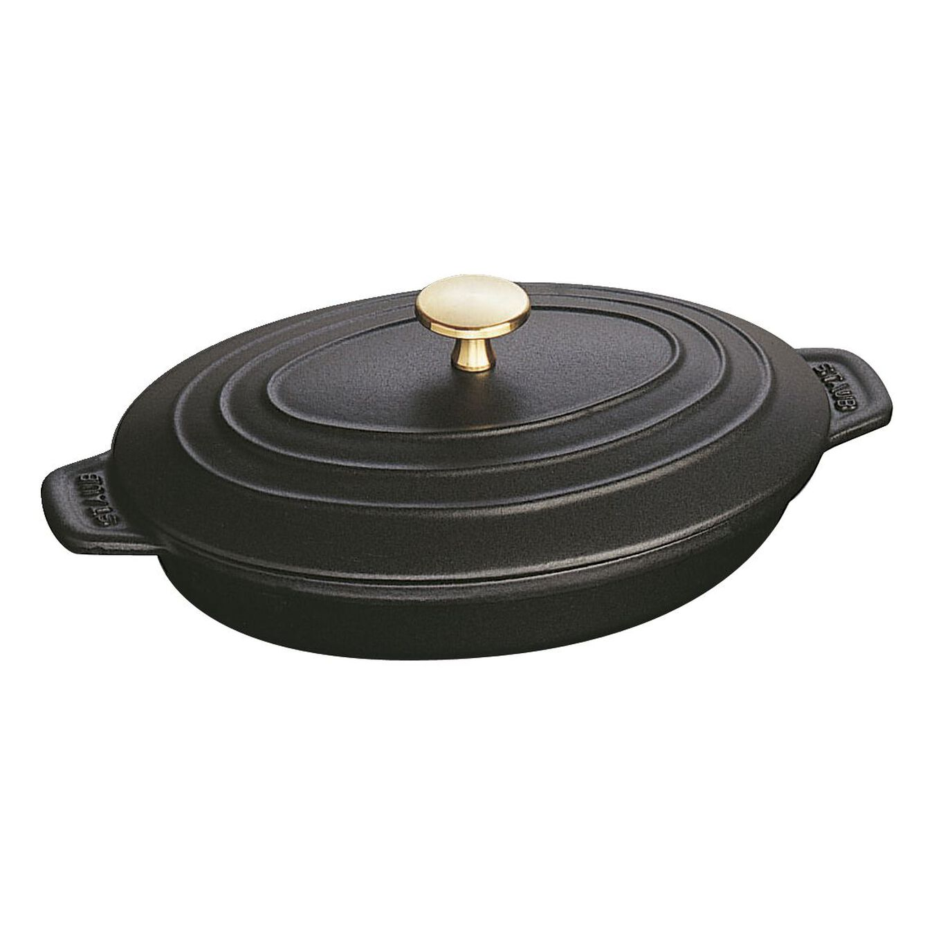 Cast iron oval Oven dish with lid, Black,,large 2