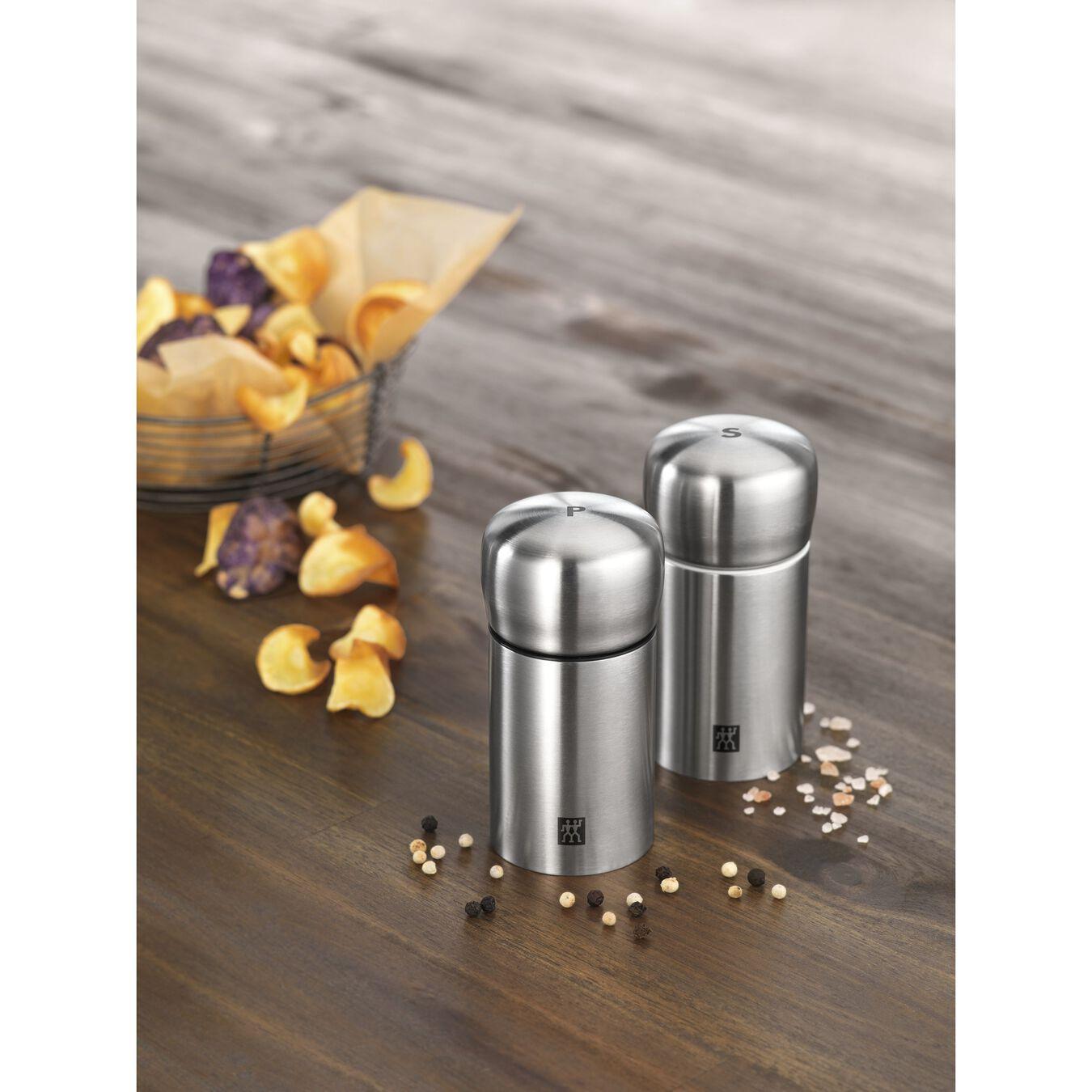 Moedor de pimenta e sal 11 cm, Aço inoxidável, Prata,,large 2