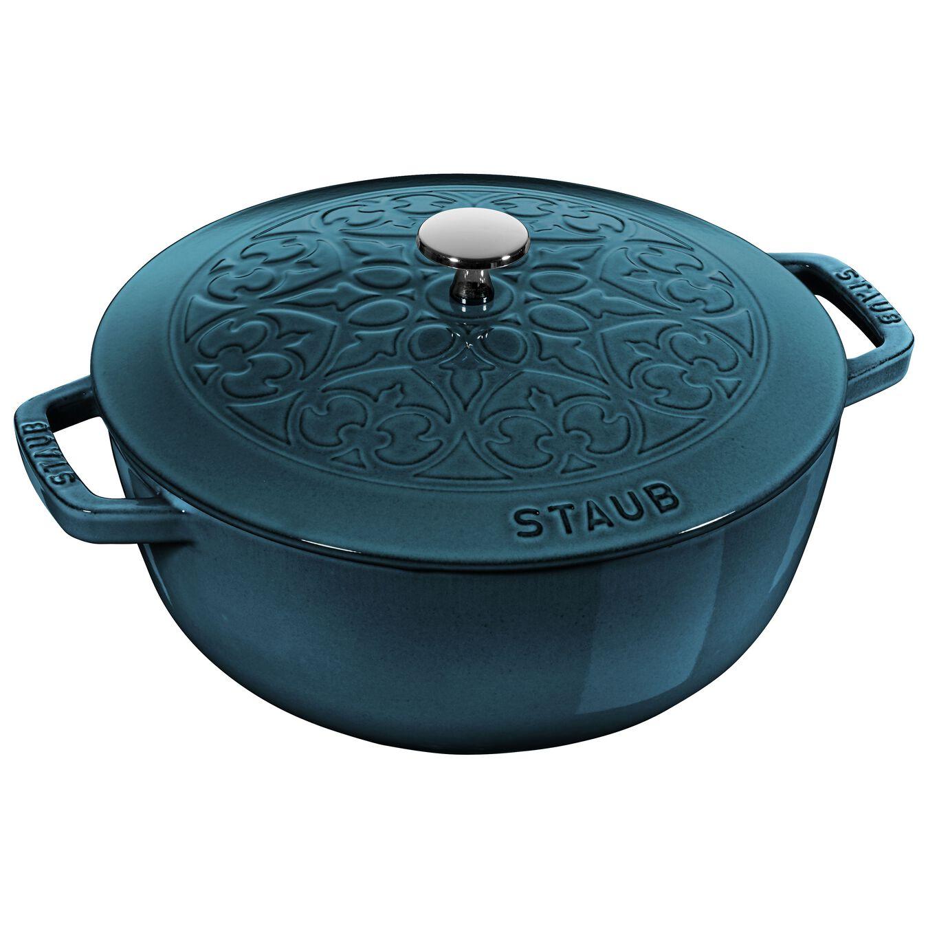 Pot set, lily decal, 2 Piece   round   cast iron   la-mer,,large 2