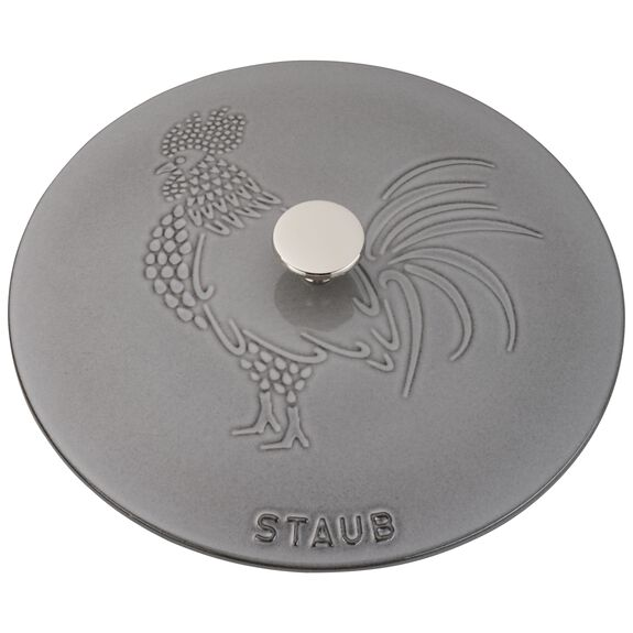9.45-inch round French oven rooster, Graphite Grey,,large 2