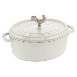 Staub Cast Iron, 5.5 qt, oval, Coq au Vin Cocotte, white