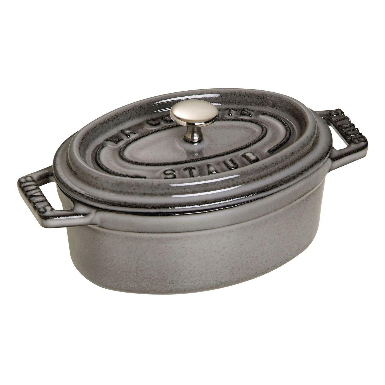 Mini Cocotte 11 cm, Ovale, Gris graphite, Fonte,,large 2