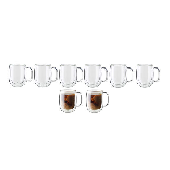 8-pc Double-Wall Glass Coffee Mug Set,,large