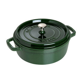 Staub Cast Iron, 4-qt Shallow Wide Round Cocotte - Basil