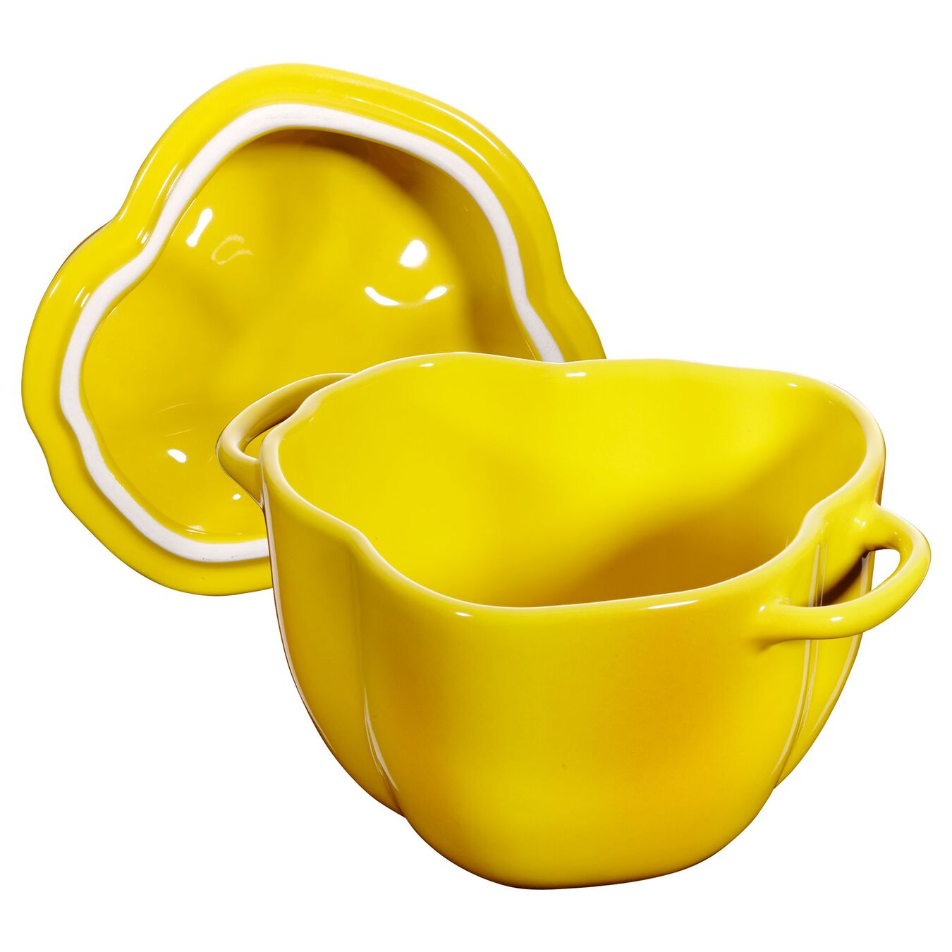450 ml Ceramic pepper Cocotte, Yellow,,large 4