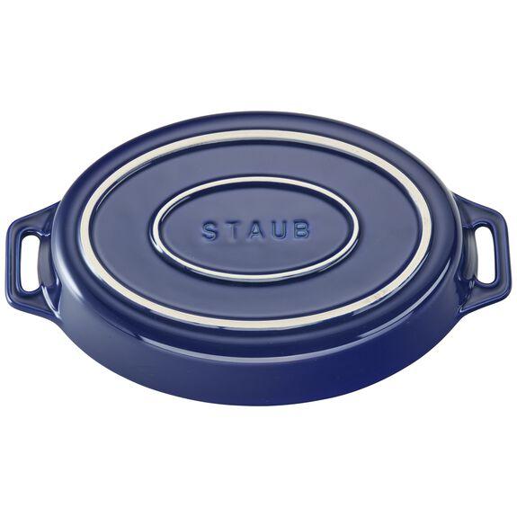 Ceramic Oval Baking Dish, Dark Blue,,large 3