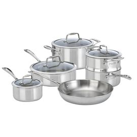 ZWILLING Vista Clad, 10 Piece 18/10 Stainless Steel cookware set with bonus non-stick frypan