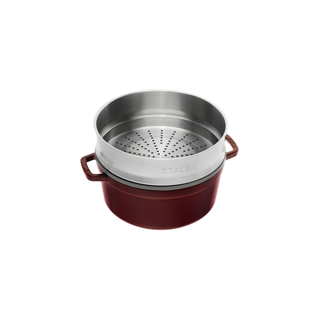Cocotte con cestello a vapore rotonda - 26 cm, granatina,,large 3