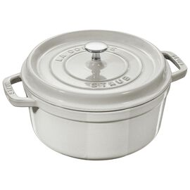 Staub Cast iron, 0.85-qt round Cocotte, White Truffle - Visual Imperfections