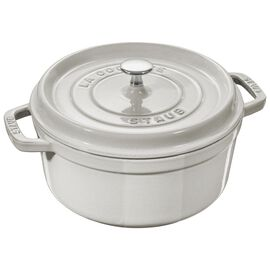 Staub Cast iron, 1.25-qt round Cocotte, White Truffle - Visual Imperfections